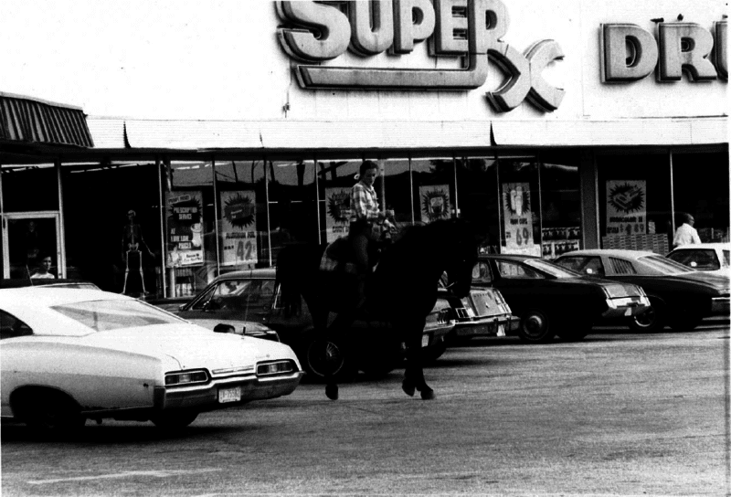 Lisa Cook rode her horse Chester to work at Winn Dixie for Harvest Week