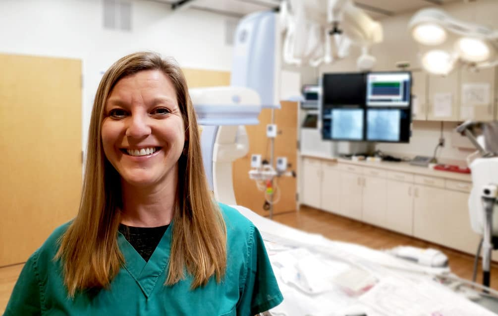 Mary Finley in the cardiovascular lab at Watauga Medical Center