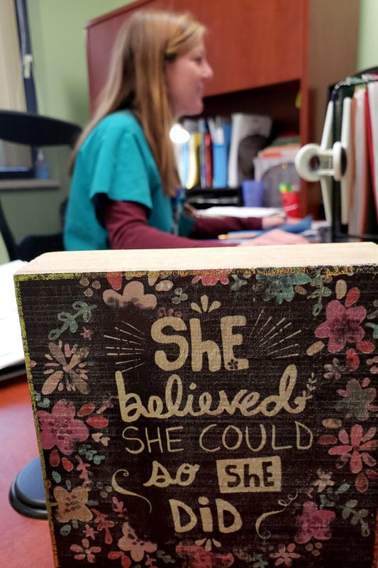 She believed she could so she did - Mary with sign