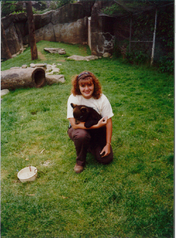 Stephanie with bear cub on Grandfather Mountain