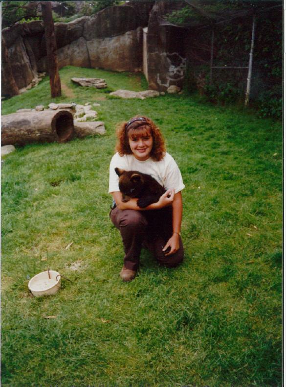 Stephanie with bear cub on Grandfather Mountain