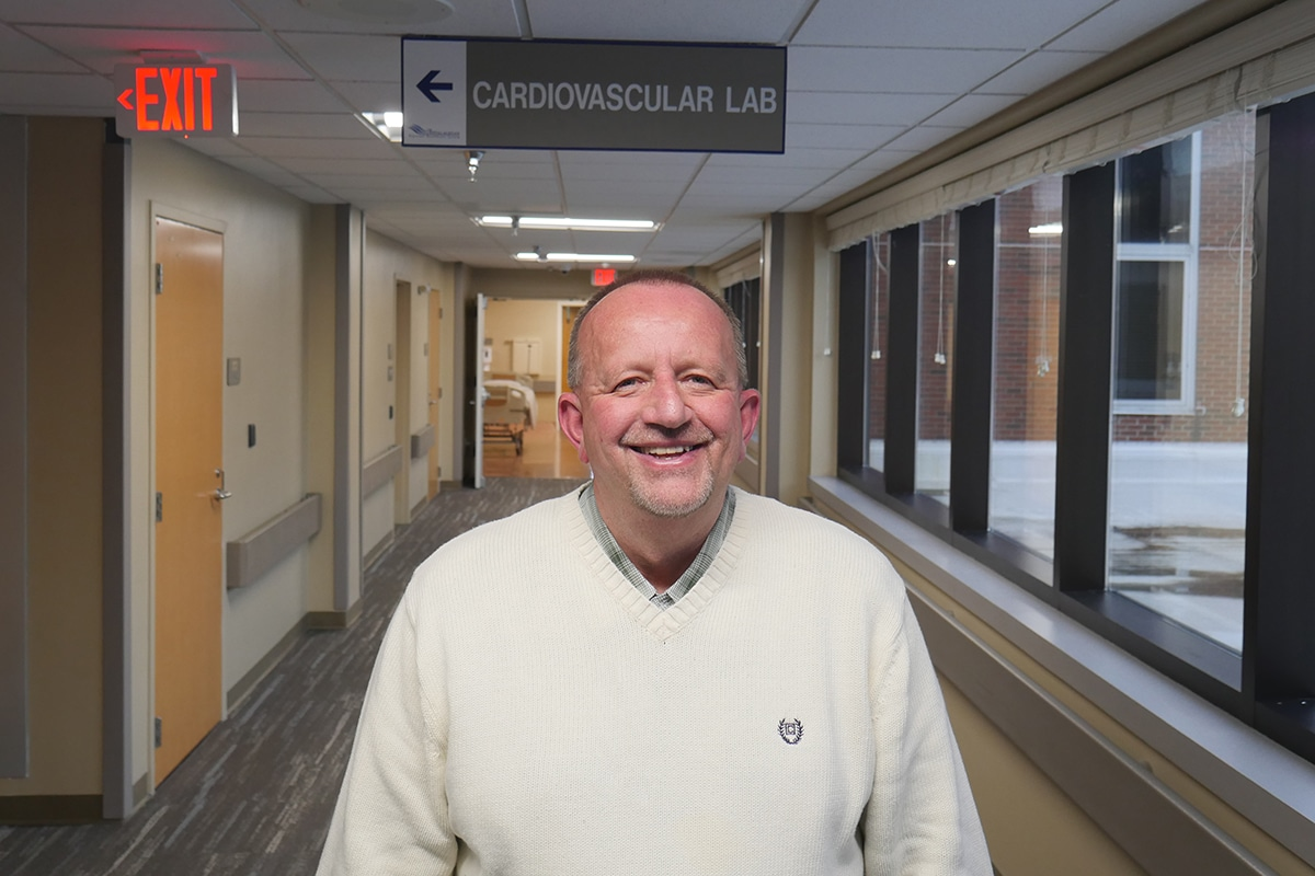 Photo: Tony Weaver outside of the Cardiovascular lab at WMC