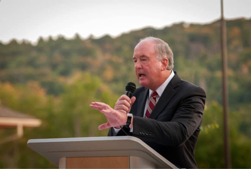 Sept 2017: Richard Sparks (Former President and CEO, Appalachian Regional Healthcare System) speaks at the Grand Opening of The Foley Center (Photo Credit: David Rogers, BlowingRocknews.com)