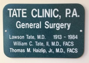 Tate Clinic Sign