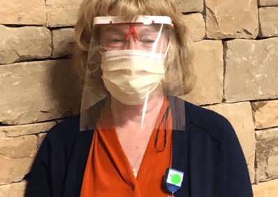 Image: Carmen Lacey wearing face shield and mask